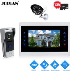 JERUAN 10 дюймов 720 P видео дверь домофон Системы запись монитор + 1.0MP COMS Камера с детектором движения + AHD Камера