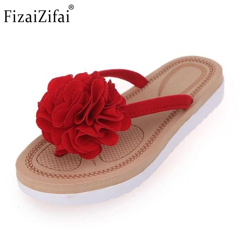 df63b356a1b6d2 Summer New Arrived Sandals Women Slippers Flip Flower Sweet Flats Leisure  Beach Stylish Shoes Women Solid Footwear Size 36-40