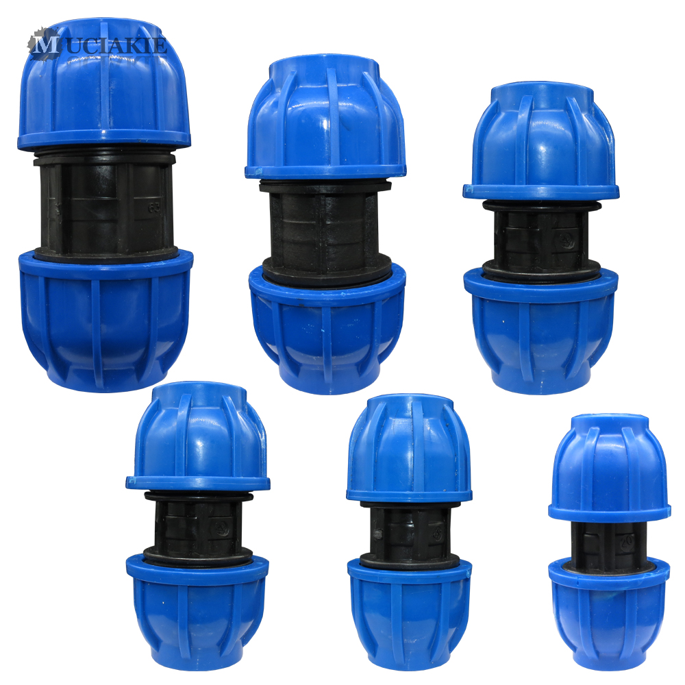 MUCIAKIE 20 25 32 40 50 60MM HDPE Compression Coupler Garden Water Connector PP Thread Irrigation Pipe Quick Connecter Fittings