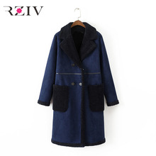 RZIV 2018 autumn and winter female fur coats casual solid color double-breasted long coat