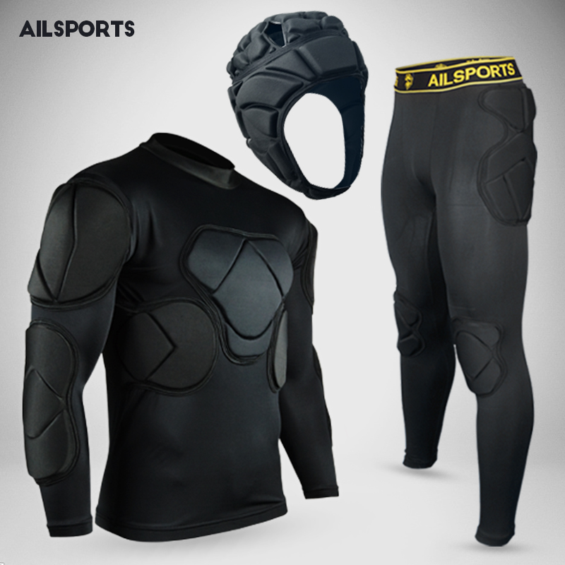 New sports safety protection thicken gear soccer goalkeeper jersey pant knee pads outdoo ...