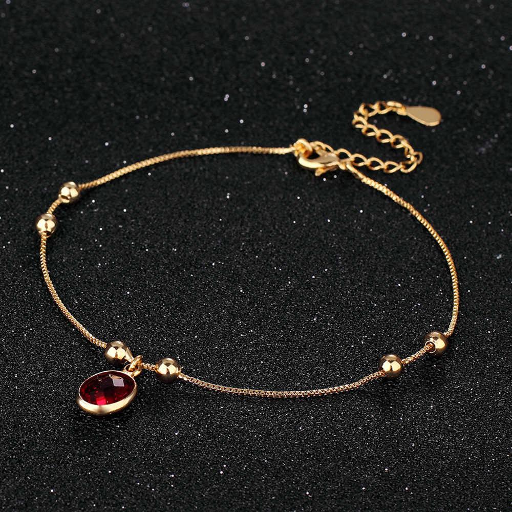 赤色アンクレットゴールドカラーチャーム足首ブレスレット Halhal ジュエリー女性インディアンジュエリー脚愛のギフト Enkelbandje