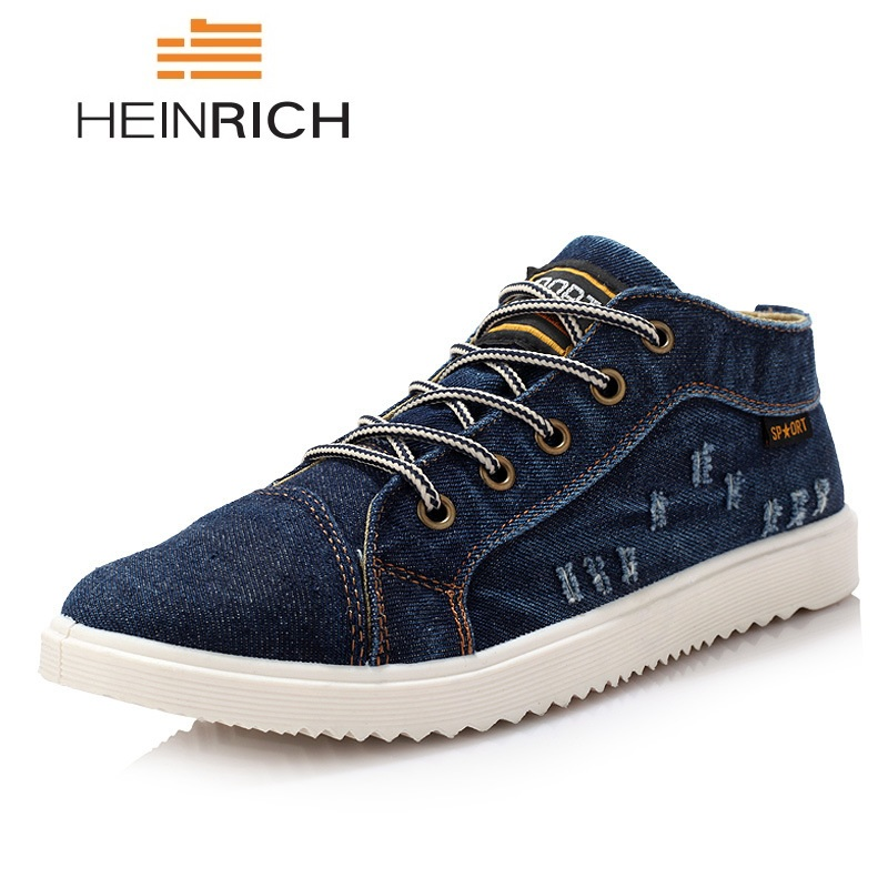 e0f4a4fe Генрих Мужская обувь Винтаж Стиль джинсовая парусиновая обувь; джинсовая  текстильная обувь Для мужчин модные дышащие кроссовки с высоким б.