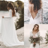 Robe De Mariage Boho Wedding Dresses 2019 Long Sleeve V Neck Lace Backless Beach Bohemian Chiffon Bride Dress Wedding Gowns