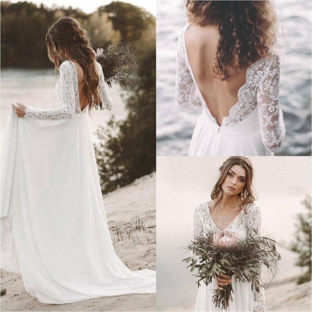Robe De Mariage Boho robes De mariée 2019 à manches longues col en V dentelle dos nu plage bohème en mousseline De soie Robe De mariée robes De mariée