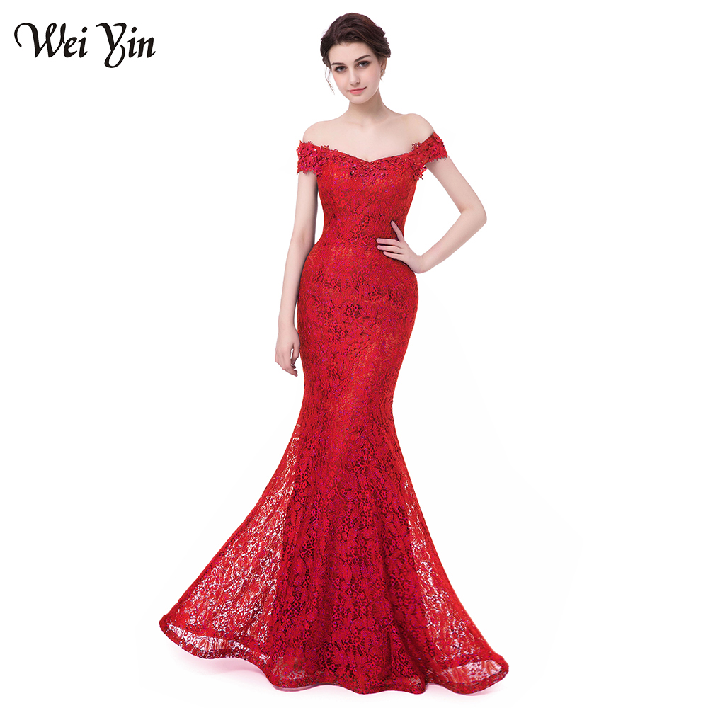 WeiYin Robe De Soiree Longue Sexy Backless Red Mermaid Lace Evening Dress  Long Cheap Appliques Evening Gowns Vestido De Festa 606dc00332f2