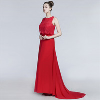 New Chiffon Red Formal Dress 2018 Cap Sleeve Long Evening Dress Ever Pretty Vestido Festa Longo