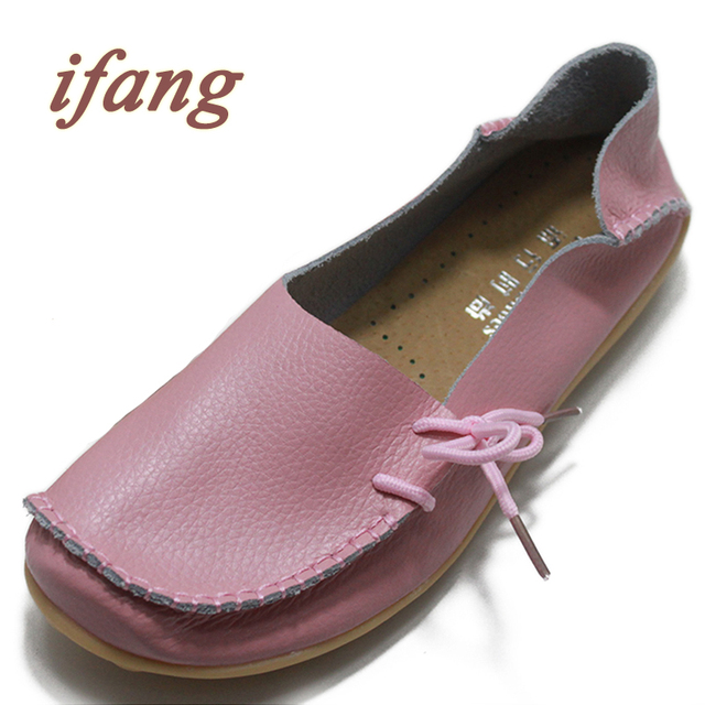 ifang 2016 Genuine Leather Women Ballet Flats Shoes Woman Flat Driving Shoes Women's Genuine Leather Nurse Casual Shoes