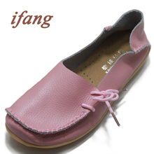 ifang 2017 Genuine Leather Women Ballet Flats Shoes Woman Flat Driving Shoes Women's Genuine Leather Nurse Casual Shoes
