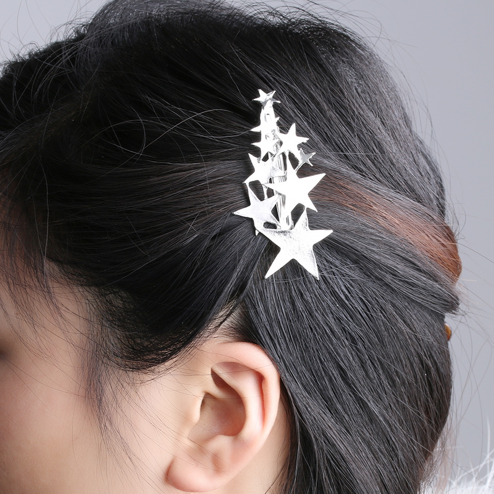 Hot Sale!!Fashion Women Lady Korean style Jewelry Girl Gold Silver Star Hair Clip Barrette Hairpin Bobby Pin Hair Accessories 1pc fashion lovely women girl metal leaf hair clip crystal hairpin barrette headwear christmas party hair accessory 2016 hot