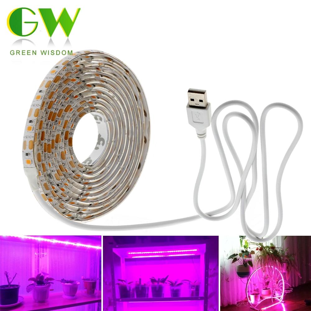 Green Wisdom LED Grow Light Full Spectrum USB LED Strip Lights 0.5m 1m 2m 2835 Chip