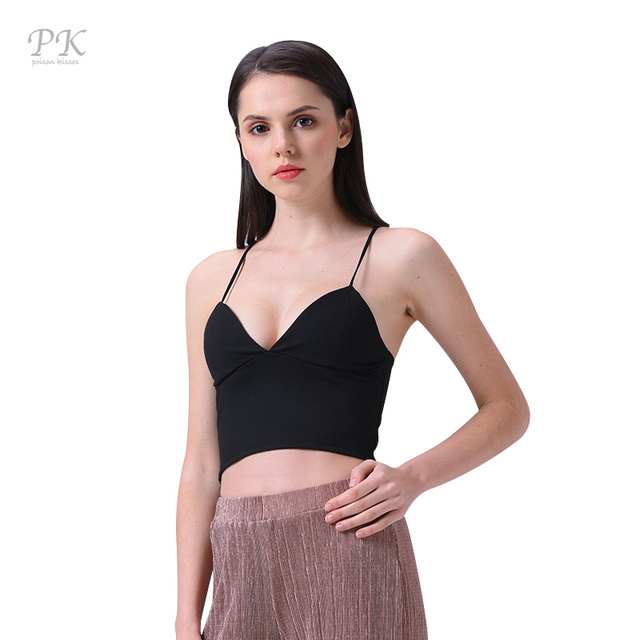 066e6fd1d208f PK 2017 black women sexy hollow out bra tank top Strappy backless girls  camisole beach short crop tops black camis