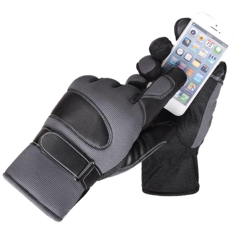 Touch Screen Autumn Winter Keep Warm Cashmere Thicken Gloves Male Outdoor Sports Riding Antiskid Warmth Skiing PU Gloves YF51