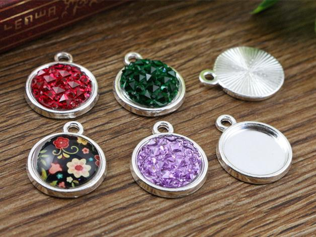 20pcs 12mm Inner Size Silver Simple Style Cabochon Base Cameo Setting Charms Pendant (A2-02)
