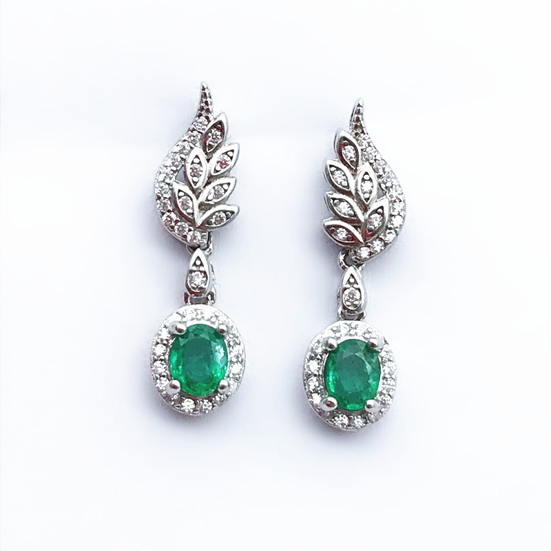 Oval Green Stone Earrings for Women 925 Sterling Silver Emerald drop Earrings Checkerboard Cutting Gem