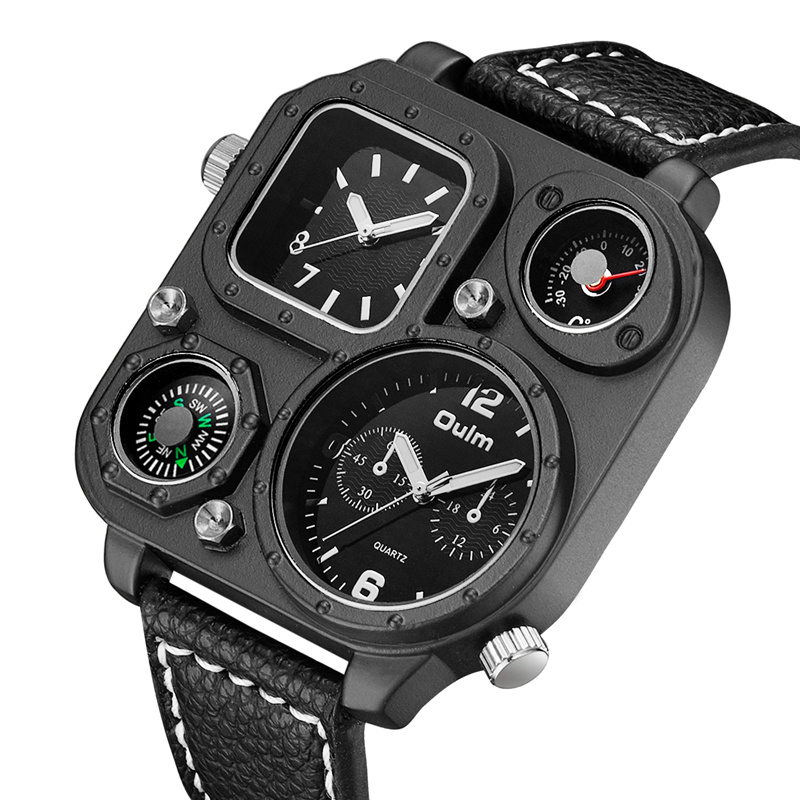 Oulm Sports Men's Watches Compass And Thermometer For Decoration Big Size PU Leather Military Wrist Watch Male Clock Hours Man