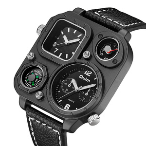 Image 1 - Oulm Sports Mens Watches Unique Compass for Decoration Big Size PU Leather Military Wrist Watch Male Clock Hours Man