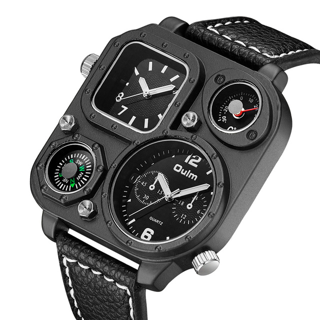 Oulm Sports Mens Watches Unique Compass for Decoration Big Size PU Leather Military Wrist Watch Male Clock Hours Man