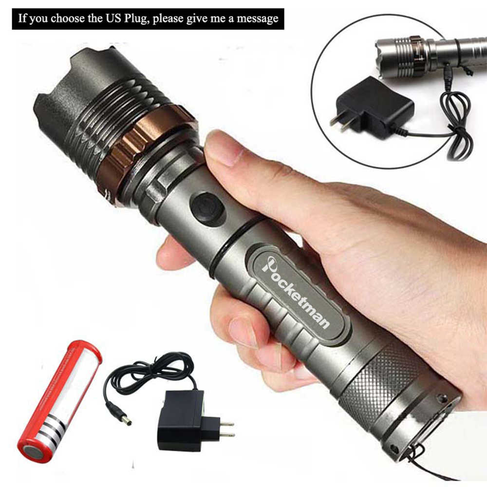 8000lm T6 светодиодный фонарик Перезаряжаемые Фонари Охота фонарик для 18650/AAA батареи прямого заряда