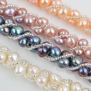 Image 4 - ASHIQI Natürliche Süßwasser Perle Schmuck Sets & Mehr Hand gestrickte Halskette Armband Ohrringe für Frauen NE + BR + EA