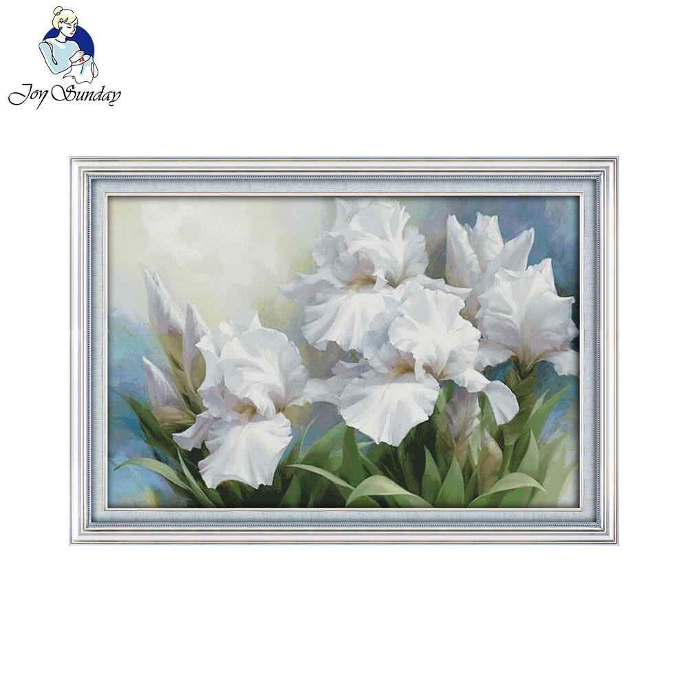 Joy Sunday the Iris Counted DIY Handmade DMC 14ct and 11ct Cross stitch kit and Precise Printed Embroidery set Needlework