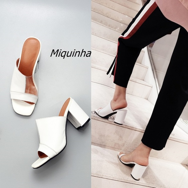 82206097367 Trendy Square Toe Peep Toe Block Heel Slippers Women Sexy Slingback Slip-on  Heels Fashion White PU patchwork Chunky Heel Sandals