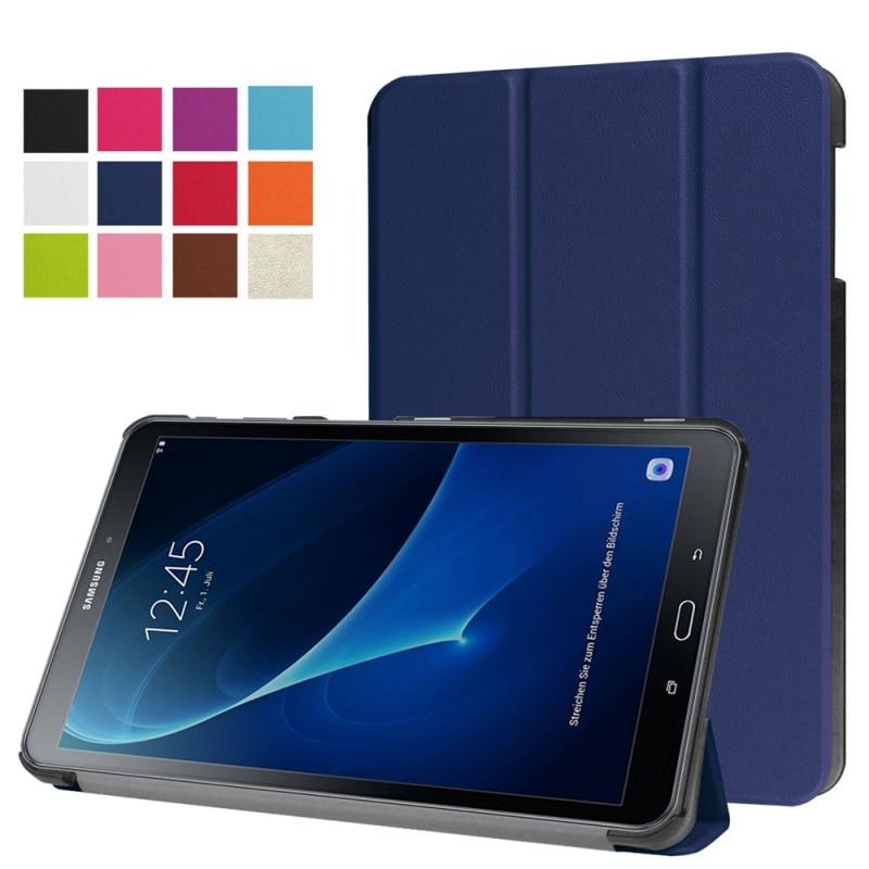 imágenes para Para Galaxy Tab 10.1 (2016) casos Del Soporte de Tres Pliegues de Cuero Smart Cover para Samsung Galaxy Tab 10.1 T580/T585 (2016)-10.1 pulgadas