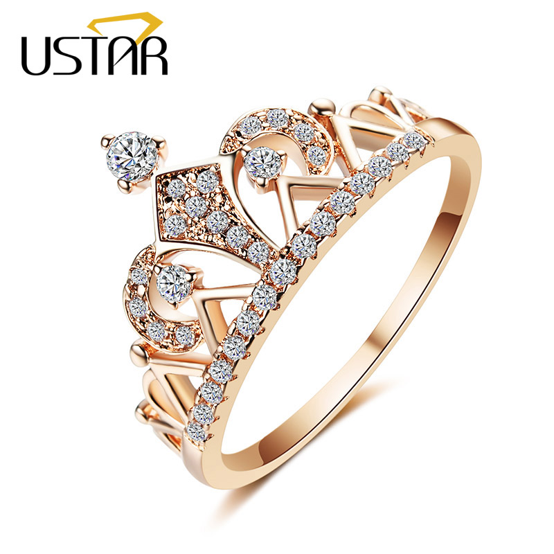 USTAR New Crystals Crown Rings for women Jewelry Rose gold color AAA Zircon engagement wedding rings female Anel top quality