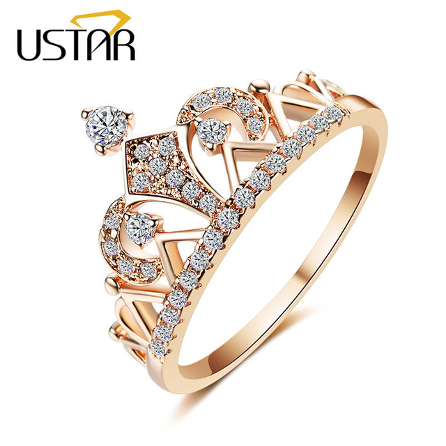 USTAR Princess Crown Rings for women AAA cubic zirconia micro pave setting engagement wedding rings female Anel accessories