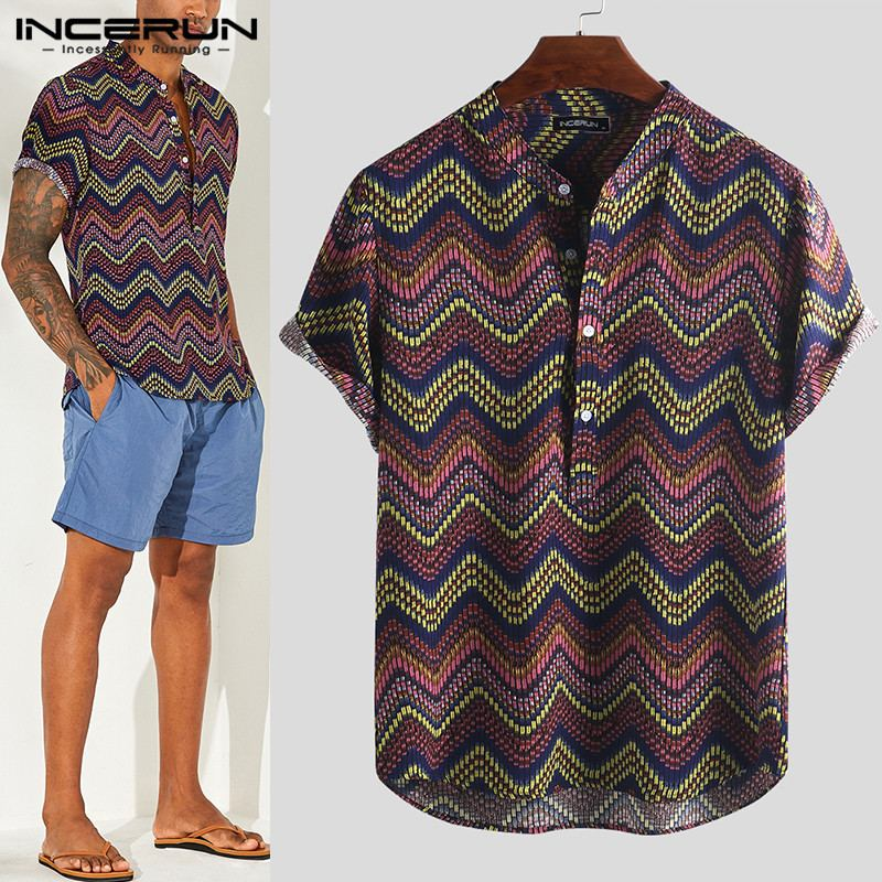 INCERUN 2020 Ethnic Style Print Men Hawaiian Shirt Stand Collar Short Sleeve Button Tops Vintage Casual Shirts Men Camisa S-5XL