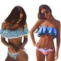 Bikinis mujeres traje de baño empuja hacia arriba el traje de baño de las mujeres 2017 nueva sexy bandeau imprimir bikini set beach wear trajes de baño biquini brasileño