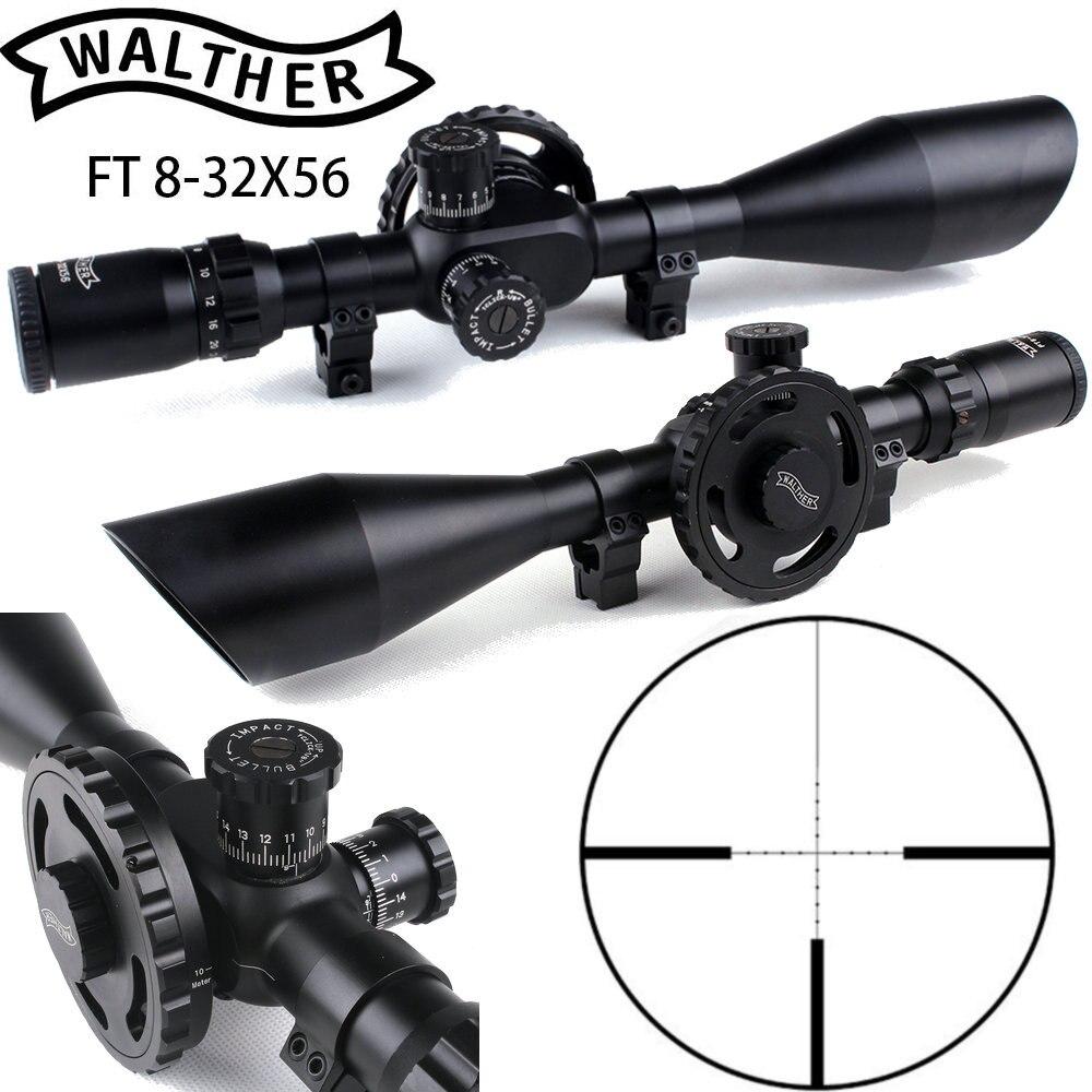 WALTHER FT 8-32X56 Caccia Visori Mil Dot Reticolo Grande Ruota Lato Parallasse aggiustamenti Shooting Scope con Coda di Rondine Anelli