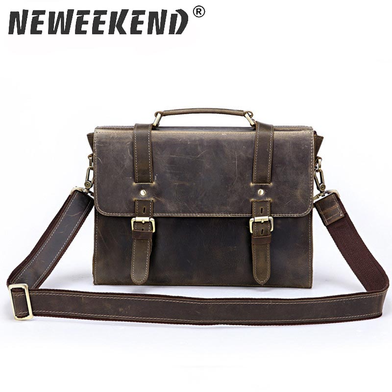 NEWEEKEND Vintage Genuine Leather Crocodile Luxurious Hard Shoulder Crossbody iPad Phone Pocket Zipper Bag for Man LZ S027