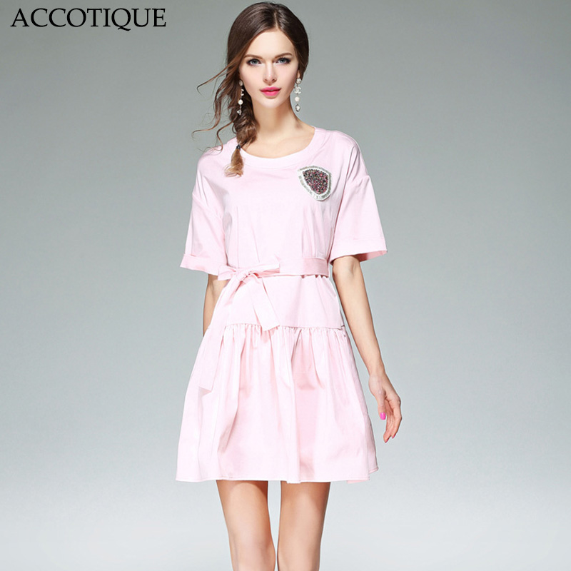 New Spring Summer Women s Fashion Solid Diamonds Short Sleeve Dress Female Cute Slim O Neck