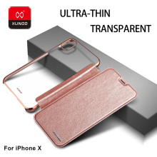 Brand Luxury Ultra thin PC cover Transparence Back case For iPhone X Phone Leather Wallet Full Protective Flip Cover Cases