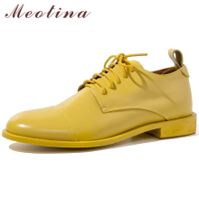 Meotina Sheepskin Flats Women Derby Shoes Natural Genuine Leather Flat Shoes Lace Up Round Toe Shoes Ladies Fall Big Size 33-43
