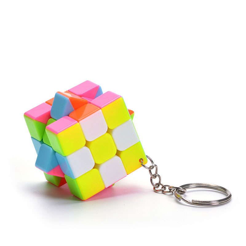 3CM Plastic ABS Mini 3x3x3 Magic Cube Puzzle Stickers Keychain Ring Opp Bag Packakge Toys Gift Speed Cube Key Ring