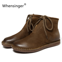 Whensinger 2018 New Women Shoes Genuine Leather Boots Handmade Sewing Design Short Plush Linning 8571