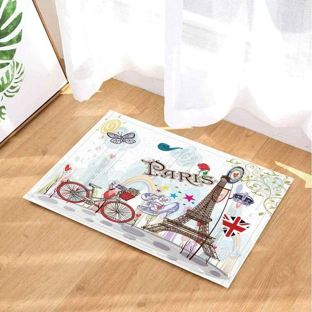 Romance Decoração Tapetes Do Banho Por, Torre Eiffel Bicicleta Rainbow Butterfly, non-Slip Capacho Indoor/Outdoor Capacho Banheiro