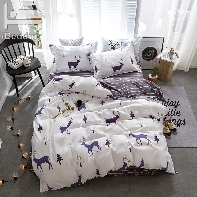 2019 New Bedding Set Reindeer Duvet Cover Set Fashion Bed Sheet White AB Side Bed Linens 5 Size Adult Bed Linens Bed Cover 4pcs