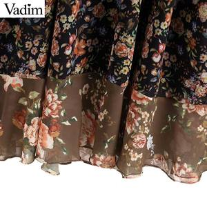 Image 5 - Vadim נשים V צוואר פרחוני שיפון קפלים שמלה לראות דרך ארוך שרוול בציר נשי רטרו שיק אמצע עגל שמלת vestidos QA763