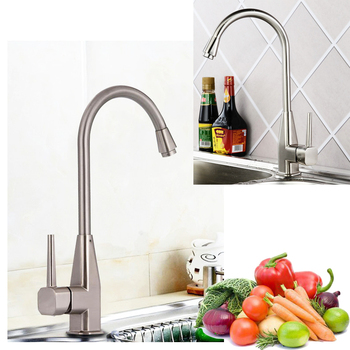 Classic Nickel Brushed Zin- Alloy Kitchen Sink Faucet Deck Mounted Single Lever Side Hot and Cold Mixer Tap
