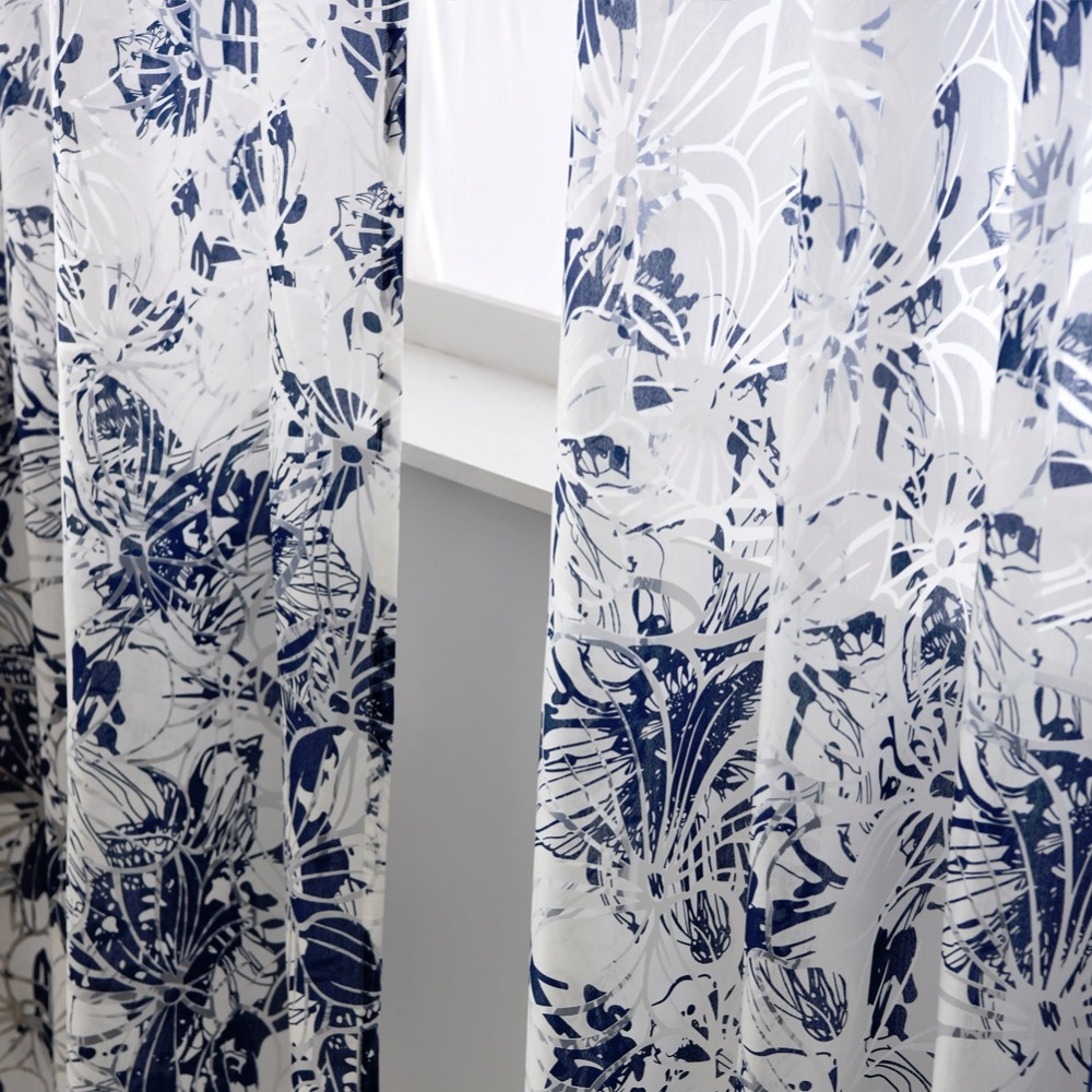 Free Shipping Fabrics Window Living Sheer Treatments Modern Curtains Blue  Curtains Floral Short Ready Made Girl