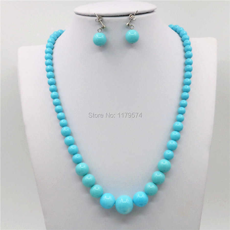 6-14mm Accessories Natural Blue Seashell Beads Tower Necklace Chain Earbob Earrings Sets Girls Christmas Gifts Jewelry Making