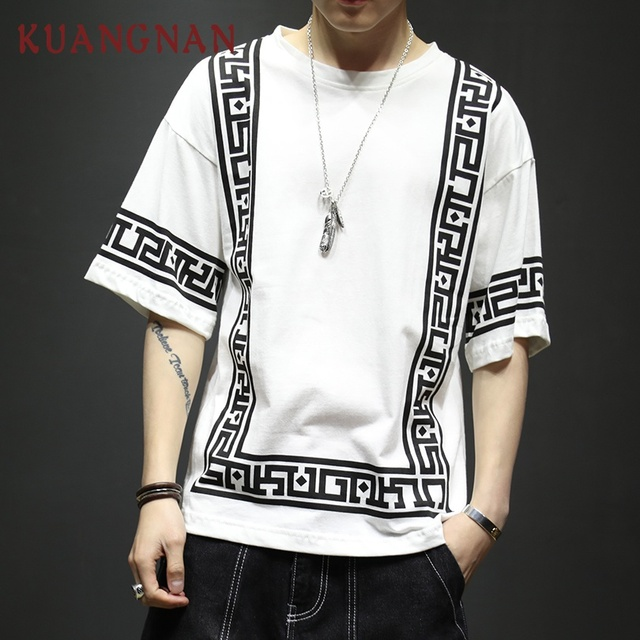 KUANGNAN Harajuku Streetwear לבן T חולצה גברים אופנת מצחיק Tshirt גברים T חולצה חצי שרוול היפ הופ חולצה גברים 5XL קיץ 2019