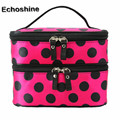 2016 hot sale cute Double Layer high-capacity storage  Cosmetic Bag Travel Toiletry Makeup Bag gift free shipping & wholesale