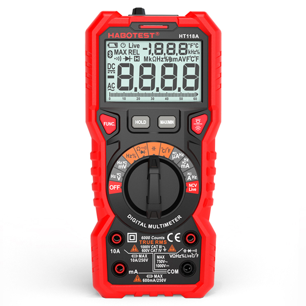 HABOTEST HT118A Digital Multimeter Auto Range Multi meter 6000 Counts True RMS Measuring Voltage Current Resistance