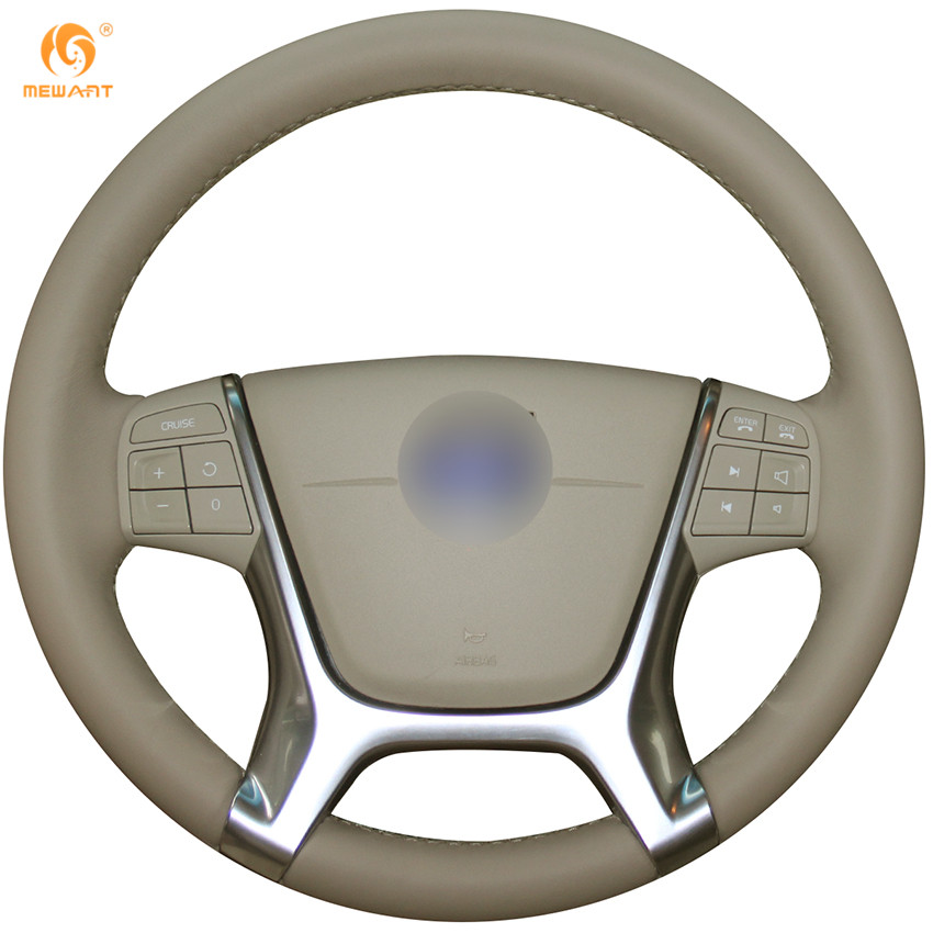MEWANT Beige Genuine Leather Car Steering Wheel Cover for Volvo S80 2010 XC60 2010-2013 XC70 2011