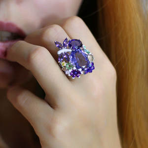 Luxury Female Big Oval Dragonfly Flower Ring Unique Style 925 Silver Purple Blue Engagement