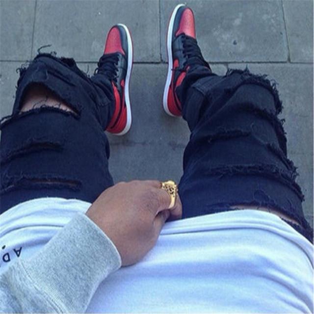 2017 Hip Hop брюки молния брюки черный jogger Уличная Мода тренировочные брюки Отверстие мужские длинные кожаные Штаны Гарем фитнес
